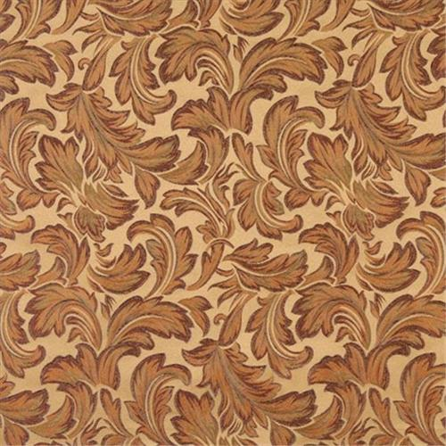 Designer Fabrics F574 54 inch Wide Gold, Green And Purple, Floral Leaf Damask Upholstery And Drapery Grade Fabric