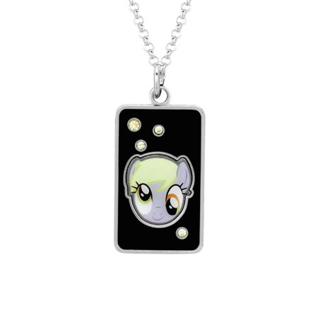 My Little Pony Fine Silver Plated Crystal Muffins Head Dog Tag Pendant Necklace