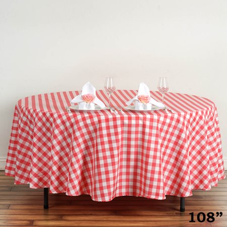 Balsacircle 108 Round Gingham Checkered Polyester Tablecloth For Garden Party Wedding Reception Catering Dining Home Table Linens