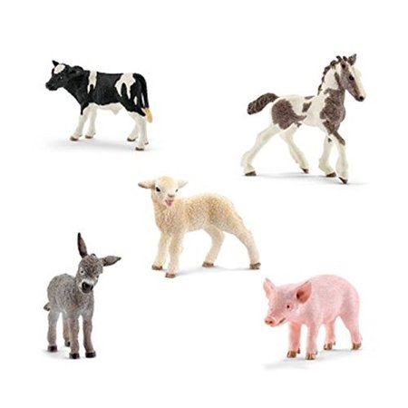 Schleich Animals Farm Babies Set - Donkey Foal. Lamb. Takehner Foal. Piglet. Holstein Calf