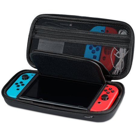Little Black Travel Case - Nintendo Switch Carrying Case, Fosmon Multipurpose Travel Case with Zipper Mesh Pocket, Accessories, Cables, Joy-Cons (Black)