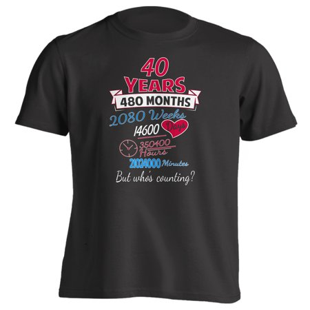 40th Anniversary Gift Shirt 40 Years but Whos Counting Mens Black (Clip Top 40)
