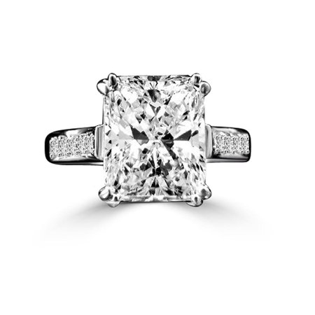3 CT. (10x8mm) Fine Emerald Shape Radiant Cut Simulated Diamond Engagement/Wedding Sterling Silver Ring