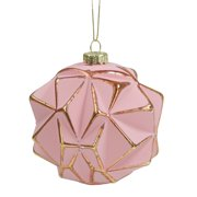 """Pink and Gold Round Geometric Glass Christmas Ornament 4"""" (100mm)"""
