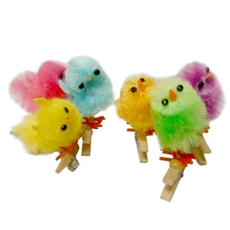 Set of 6 Decorative Miniature Easter Chicks on Clothespin, Chenille
