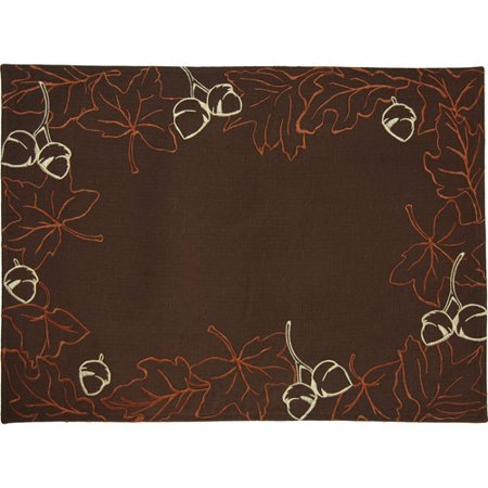 Better Homes And Gardens Leaf Wreath Placemat Chocolate