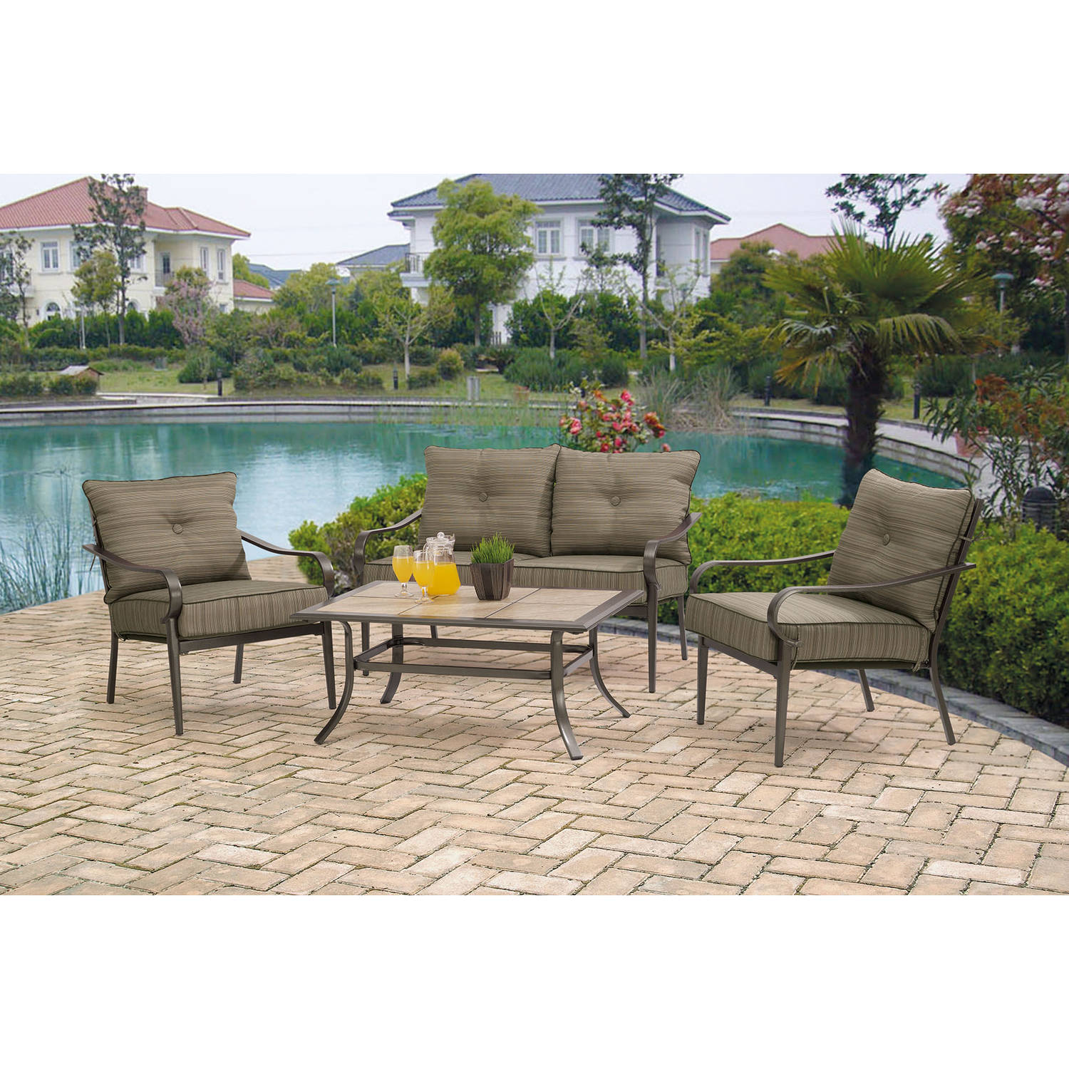 Mainstays Charleston Park 4-Piece Patio Set, Brown