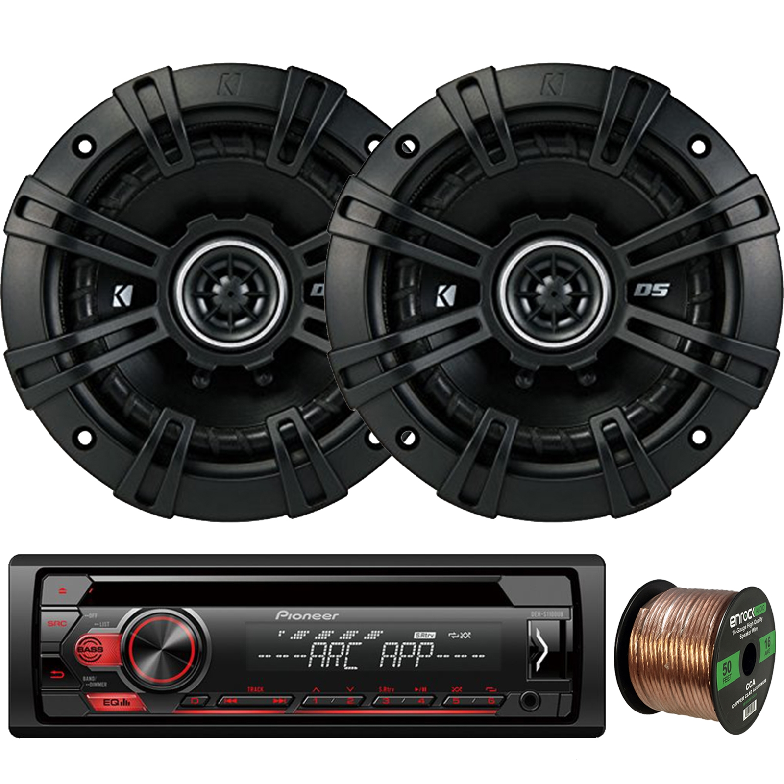 "Pioneer DEH-S1100UB Single-DIN CD Player AM/FM Car Stereo Receiver, 2 x Kicker DSC50 DS Series 5.25"" 4-Ohm Coaxial Car Audio Speakers, 16-Gauge 50Ft. Speaker Wire"