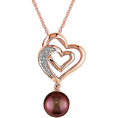 """7-7.5mm Chocolate Pearl and Diamond Accent 10kt Pink Gold Pendant, 17"""""""