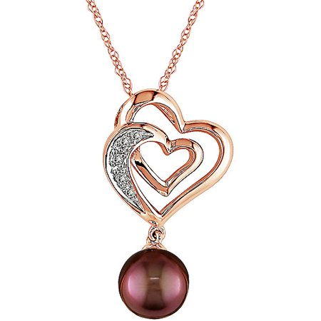 7-7.5mm Chocolate Pearl and Diamond Accent 10kt Pink Gold Pendant, 17 ()