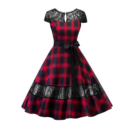 Women Lace Vintage 50s 60s Rockabilly Dress Backless Plaid Stitching Retro Pinup Homecoming Housewife Party Dresses ()