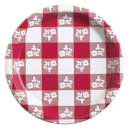 Party Creations Red Gingham Lunch Plate, 25 Ct (Pink Gingham Party Supplies)