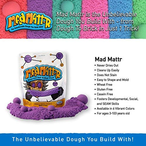 MAD MATTR Jewel Tones by Relevant Play 10 Ounces Rocket Red, 10oz Soft Modelling Dough Compound That Never Dries Out