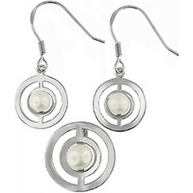 Doma Jewellery DJS02768 Sterling Silver (Rhodium Plated) and Freshwater Pearl Earring and Pendant Set