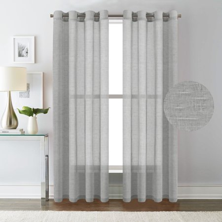 H Versailtex Elegant Natural Linen Sheer Curtains For Bedroom Privacy Protection Nickel Grommet Window Panels D Set Of 2 52x84 Inch Dove Gray
