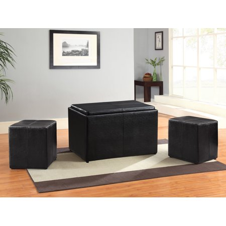 Lifestyle Solutions Isabel Bench Three Piece Set with Two Ottomans, Tray & Storage, Java ()