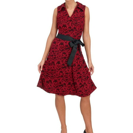 4f8ae6d4f6c3 Signature by Robbie Bee NEW Red Black Women 14P Petite Lace A-Line Dress -  Walmart.com