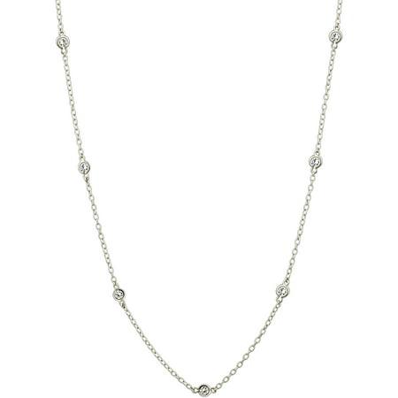Swarovski Elephant Necklace - Zirconia Ice Swarovski Zirconia Sterling Silver Station Chain Necklace, 24
