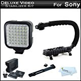 Deluxe LED Video Light Video Stabilizer Kit For Sony a6000 Digital Camera HDR XR160 High Definition Handycam C (Sony Digital Video Camera)