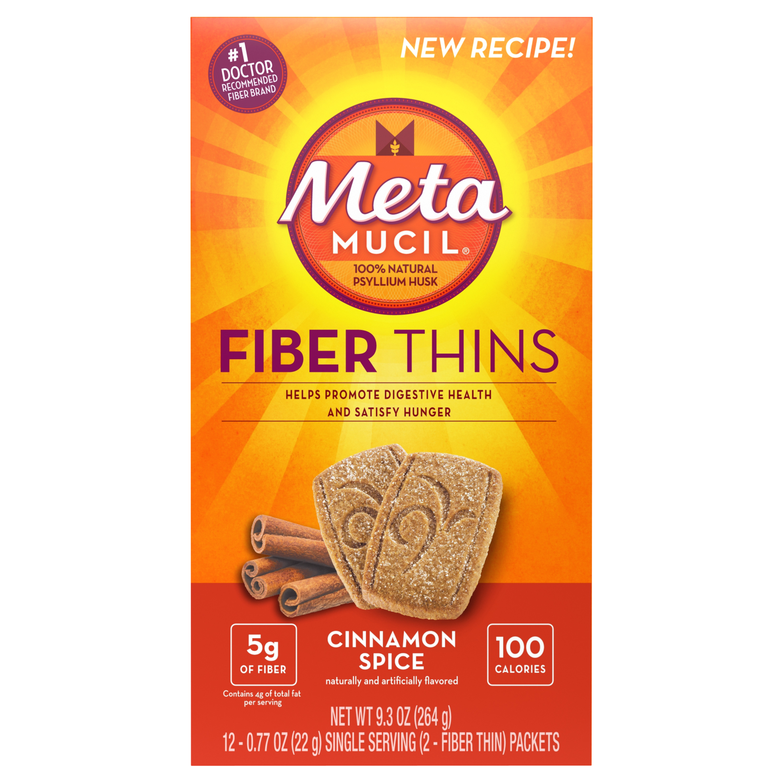Metamucil Cinnamon Spice Flavored Fiber Thins Dietary Fiber Supplement with Psyllium Husk, 12 servings