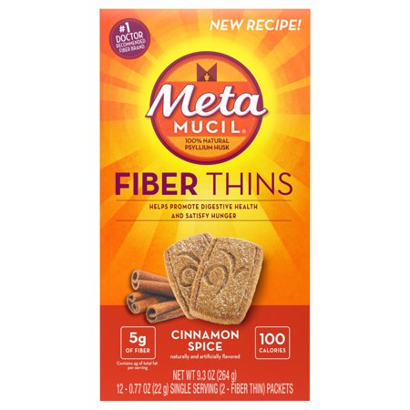 Metamucil Cinnamon Spice Flavored Fiber Thins Dietary Fiber Supplement with Psyllium Husk, 12 servings