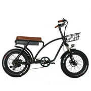 """Long motorcycle seat electric bike. 20""""x4.0"""" fat tires. 750W motor. 48V 15Ah battery. Front suspension."""