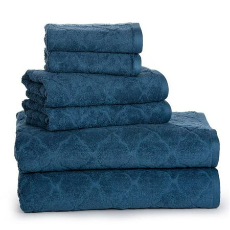 Towle Crystal (Affinity Linens ADC6PCT-STL Luxurious Fine Cotton Jacquard Solid Towel Set, Stellar - One Size, 6 Piece)