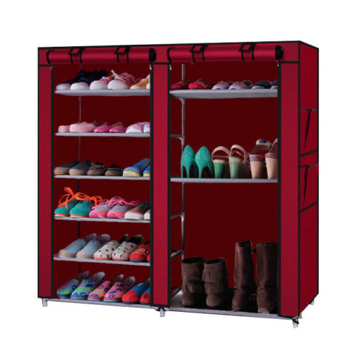 Zimtown Double Row Shoe Boot Closet Rack Shelf Storage Organizer Cabinet 9 Layer Wine Red