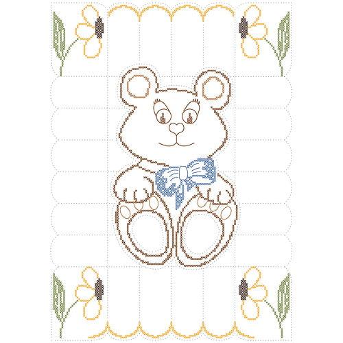 """Fairway Needlecraft Teddy Bear Stamped Baby Quilt Top, 36"""" x 50"""" by Fairway"""