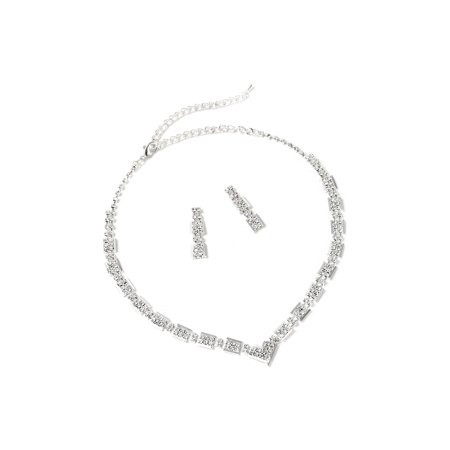 Silver Crystal Rhinestone Rectangle Baguette Shape Small V Chain Necklace & Matching Dangle Earrings Jewelry Set