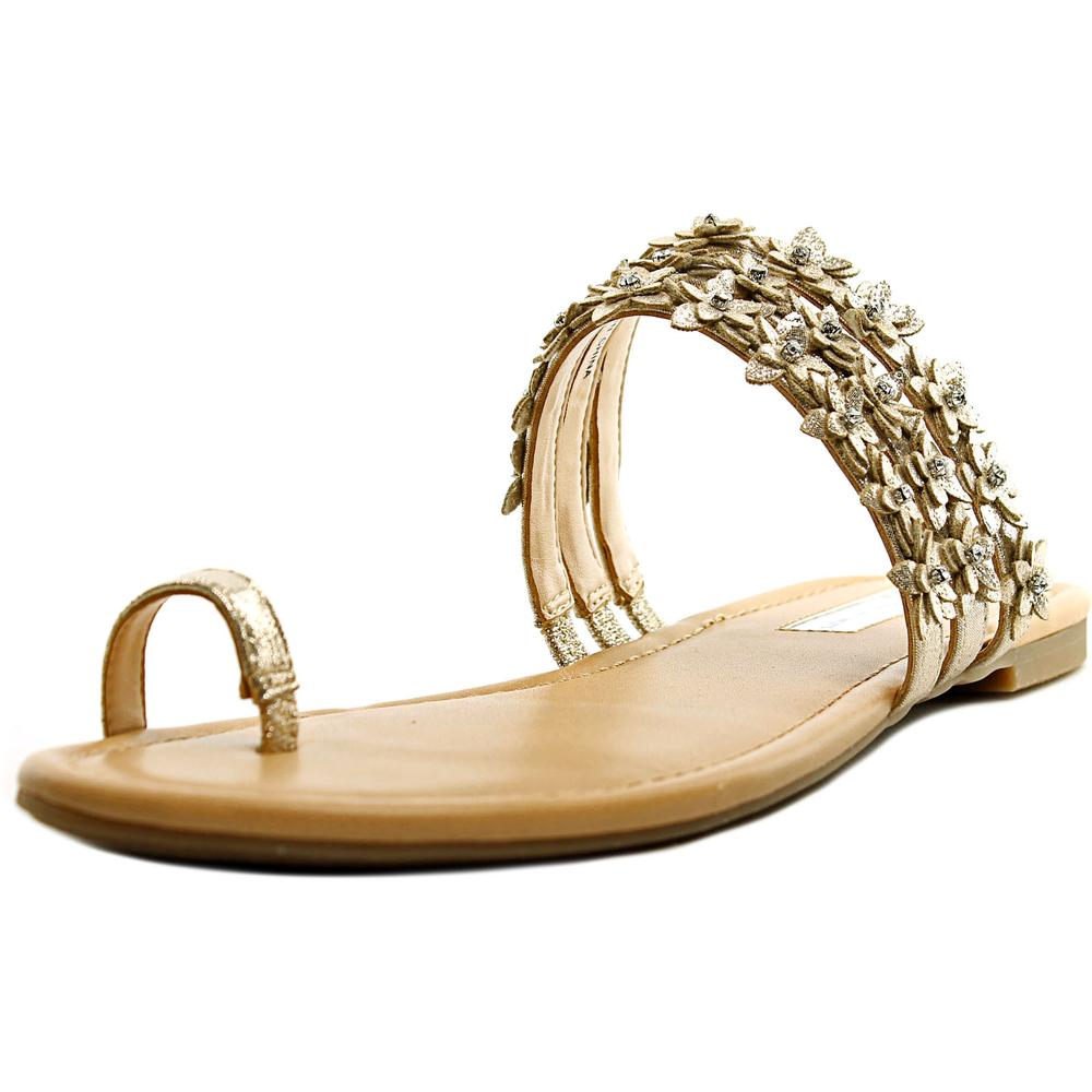 INC International Concepts Linaa Women  Open Toe Canvas Gold Slides Sandal