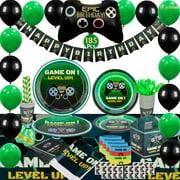 Kidohub Video Game Birthday Party Supplies: Decorations Favors Tableware Black Green Bundle Pack 185 Pcs Serves 16