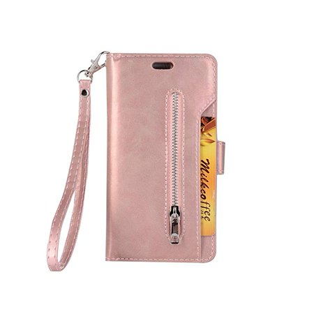 Pu Soft Case Cover (iPhone 8/ 7 Zipper Wallet Case, Allytech [Magnetic Closure] Multi-Functional Handbag Stand Function Folio PU Leather Flip Cover Inner Soft TPU Case for iPhone 8/ iPhone 7, Rosegold )