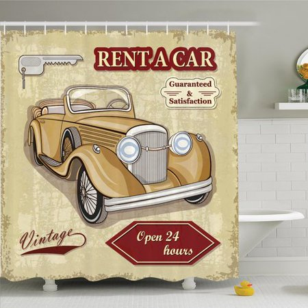 Ambesonne Vintage Old Car Poster Effect Shower Curtain Set