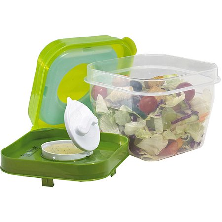 Fit and Fresh Salad Shaker with Removable Ice Pack and Dressing Dispenser
