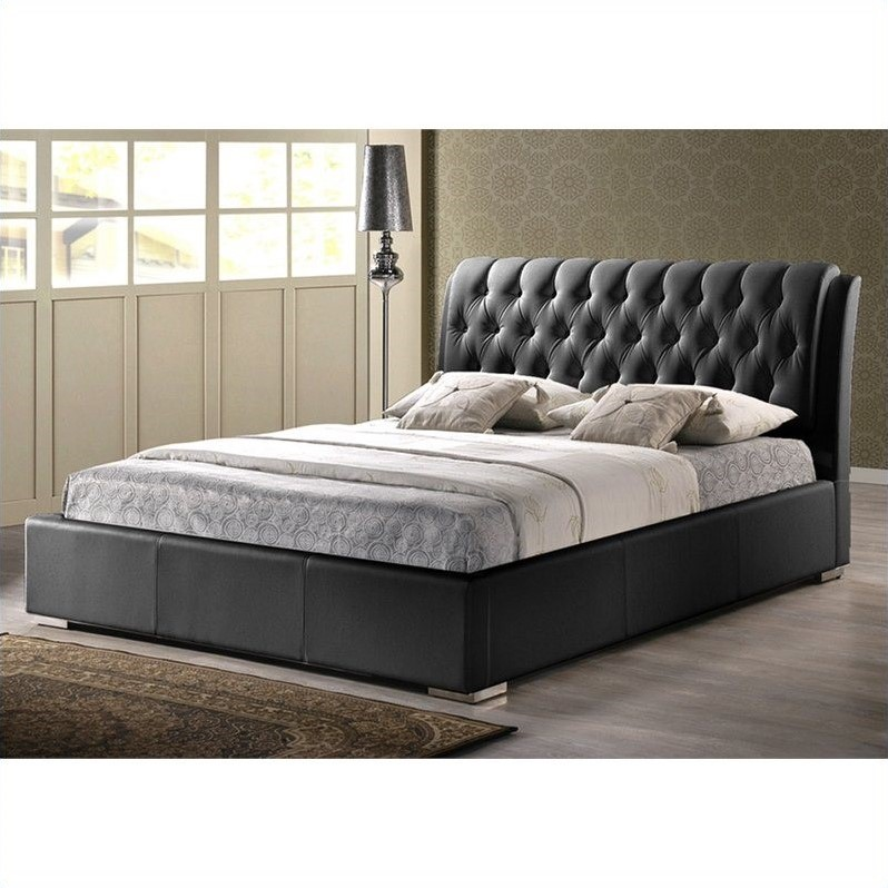 Baxton Studio Bianca Queen Platform Bed with Tufted Headboard in Black