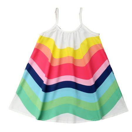 Straps Girls Dress (Toddler Little Baby Girl Summer Boho Rainbow Stripe Strap Beach Sun)