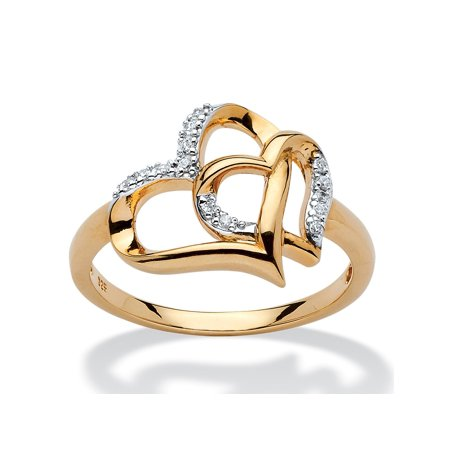 Diamond Accent Interlocking Heart Ring in 18k Yellow Gold over Sterling Silver Diamond 18k White Gold Heart Ring