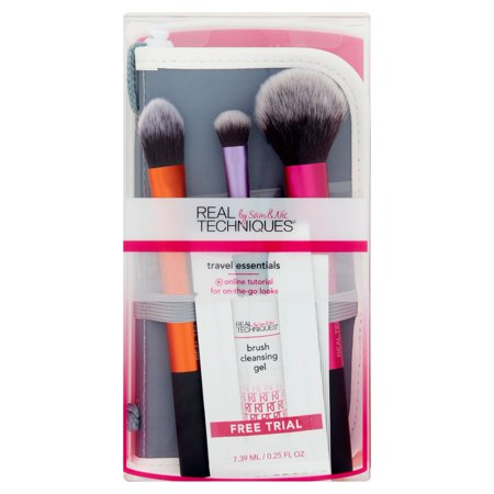 real techniques travel essentials makeup brush set with 2