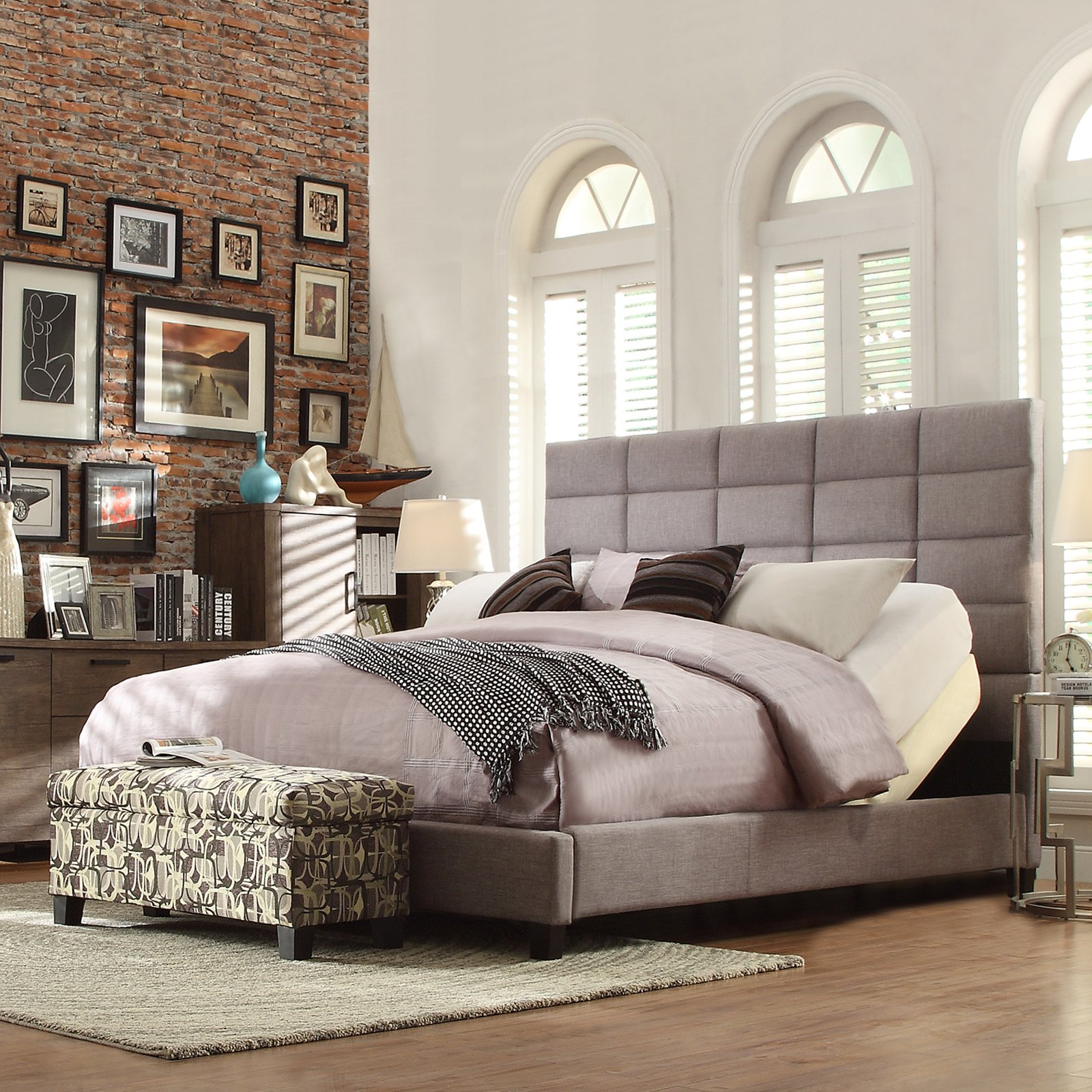 Homelegance Inspire Q Willow Upholstered Low Profile Bed