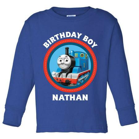 Personalized Thomas & Friends Birthday Boys' Royal Blue Long Sleeve