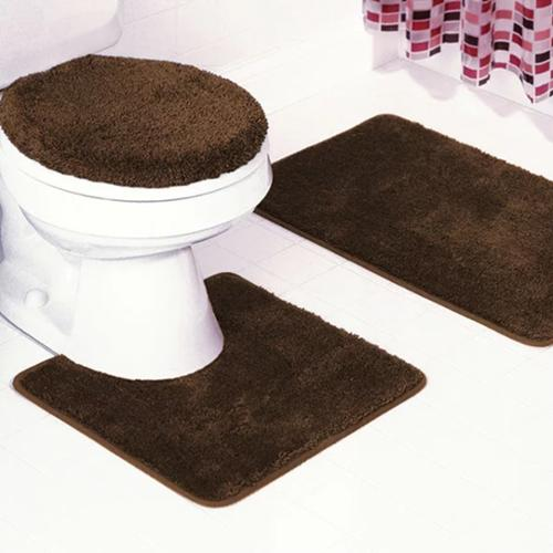 Frieze 3-Piece Bathroom Rug Set chocolate