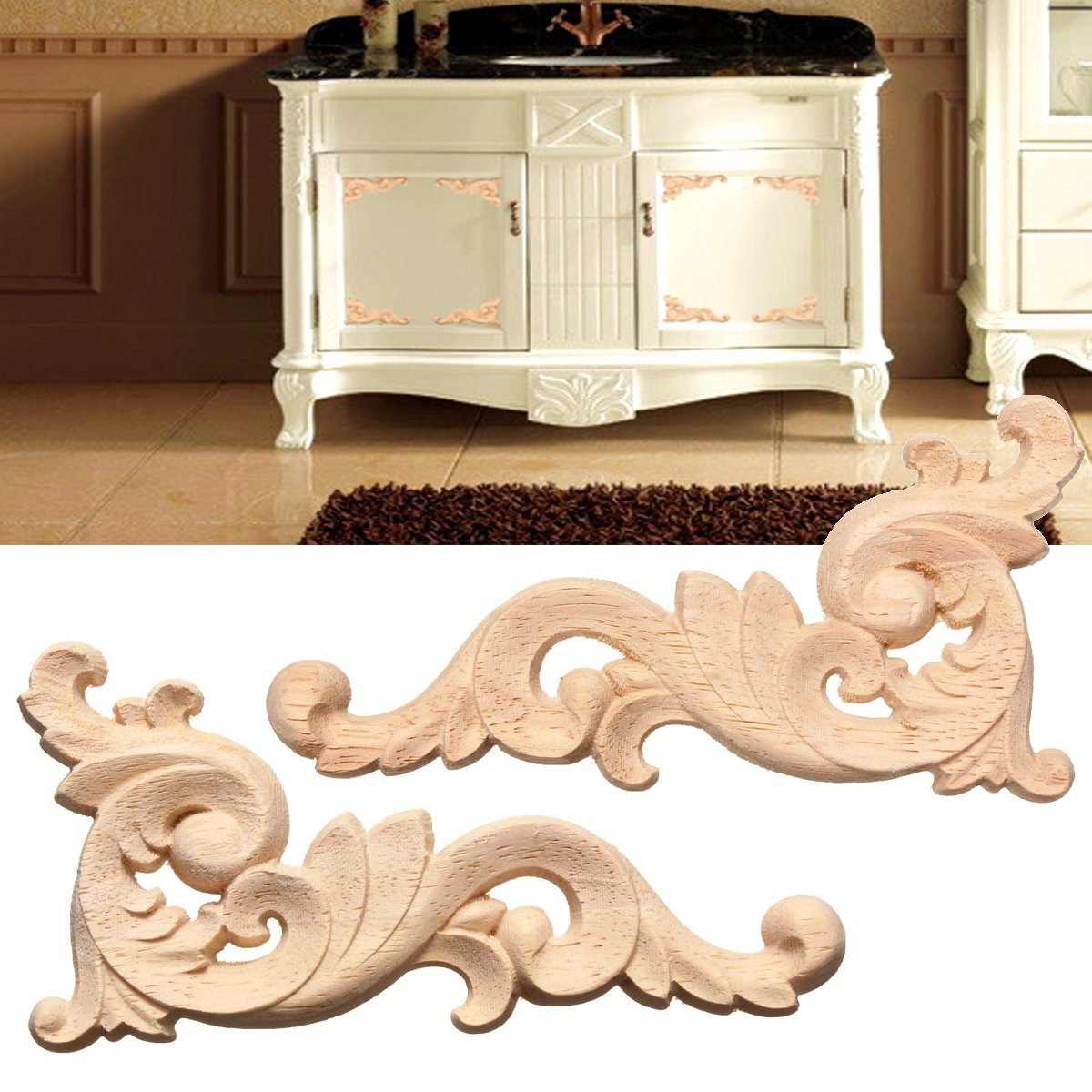 4PCS 12x6cm Wood Carved Corner Onlay Applique Frame Unpainted Door Wall Cabinets Furniture Decor