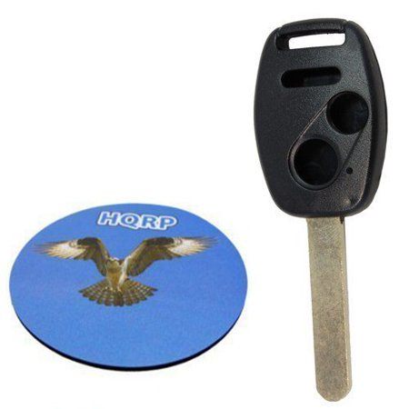 Pilot Pro Remote - HQRP Remote Uncut Key Shell FOB w/ 3 Buttons compatible with Honda Pilot 2005 2006 2007 2008 05 06 07 08 + HQRP Coaster