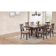Nets 7 Piece Formal Dining Room Set, Brown Wood, Transitional (Table With  18\