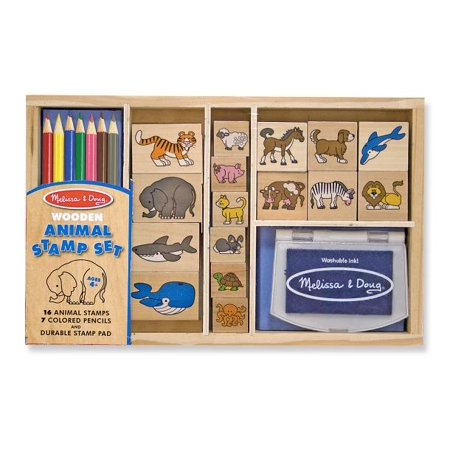 - Melissa & Doug Wooden Stamp Set: Animals - 16 Stamps, 7 Colored Pencils, Stamp Pad