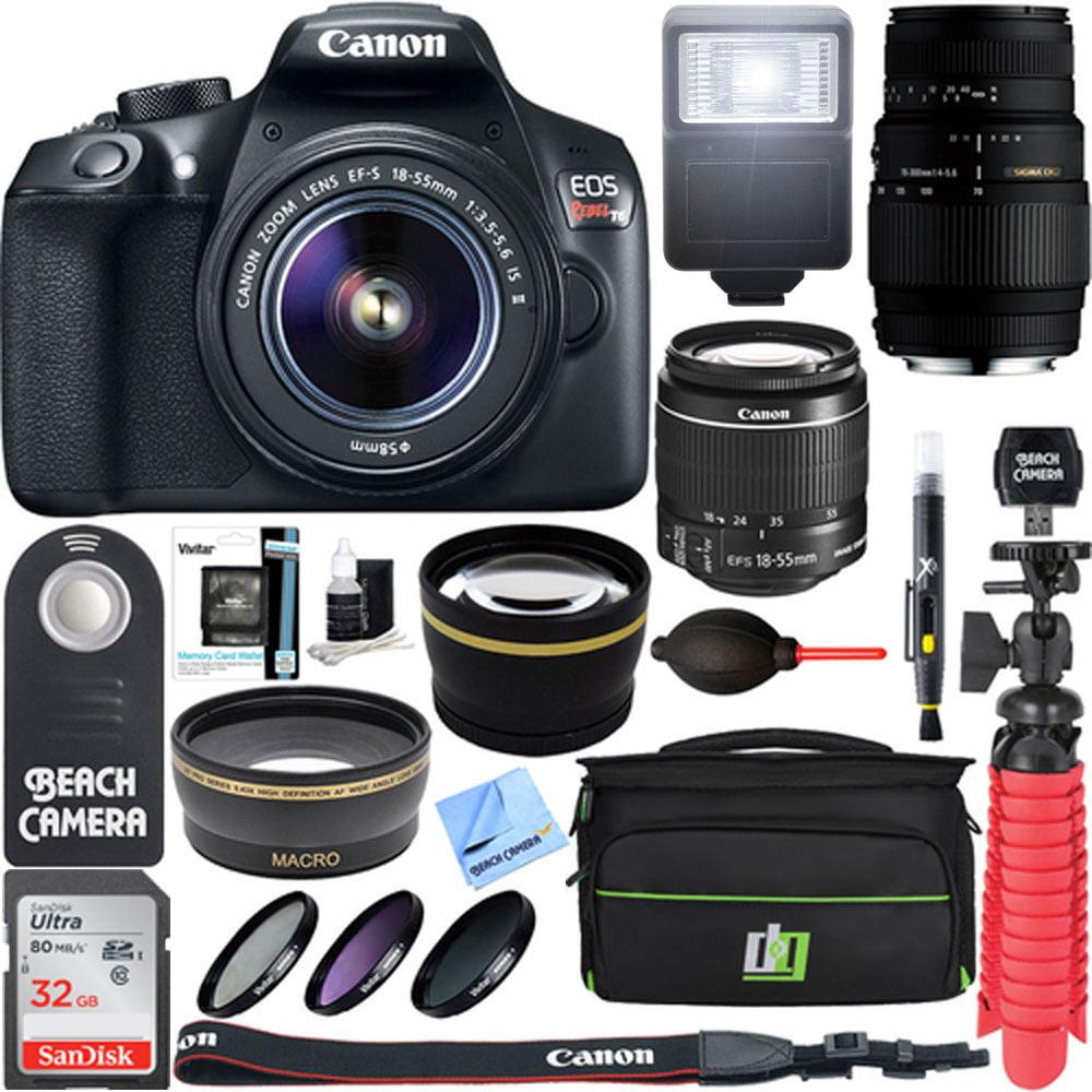 Canon EOS Rebel T6 Digital SLR Camera Wifi + 18-55mm IS II & Sigma 70-300mm Macro Telephoto Zoom Lens Kit + Accessory Bundle 32GB SDHC Memory + Bag + Wide Angle Lens + 2x Telephoto Lens+Flash+Tripod