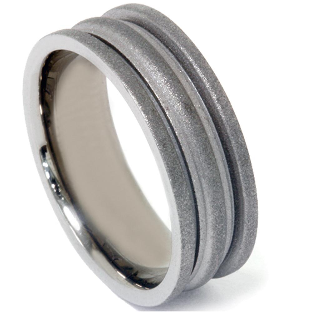 Mens Charcoal Finish Wedding Band Ring 14K Black Gold - image 3 de 3