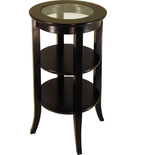 Genoa Round Accent Table with Glass Inset by Winsome