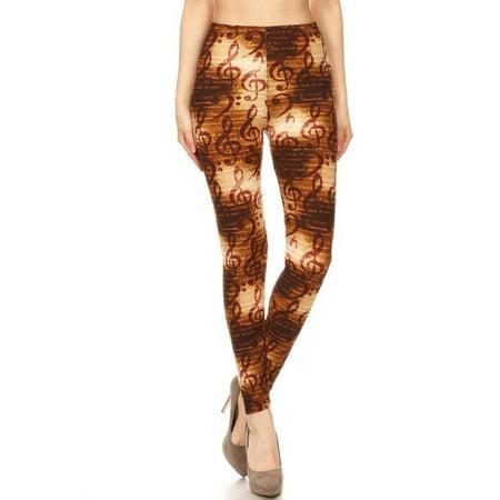 Womens Regular Size Bronze Musical Notes Design Leggings (One Size)